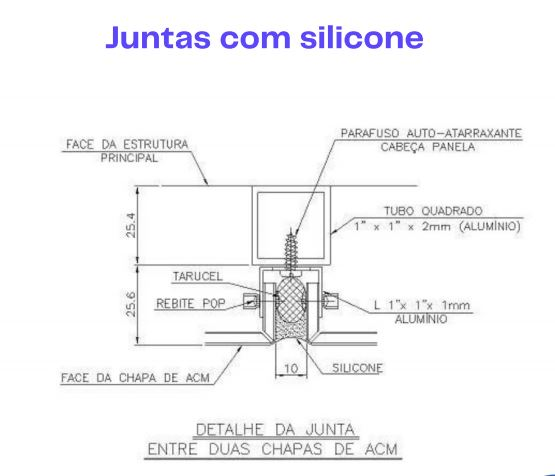 Ilustração de juntas com silicone na Fachada de ACM