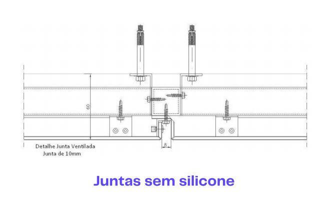 Ilustração de juntas sem silicone na Fachada de ACM
